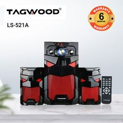 TAGWOOD LS-521A Woofer Subwoofer Speaker Home Audio System 2.1CH MP3, Bluetooth black 8800W PMPO. LS-521A