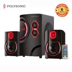 POLYSONIC MP-76 2.1CH Multimedia Blutooth Woofer Speaker Home Audio System Red 5500w pmpo. MP-76
