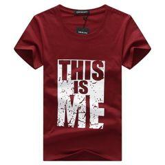 Men's short - sleeved men wear  tshirt slim men's shirts men clothes wine red L Polyamide blended