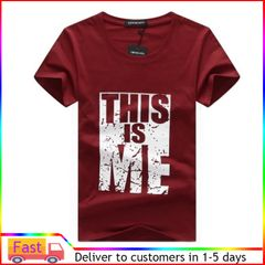 Men's short - sleeved men wear  tshirt slim men's shirts men clothes wine red M Polyamide blended