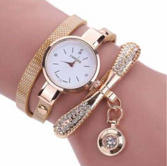 women fashionable new ladies' quartz watch is set with diamond round thin band bracelet as picture General size