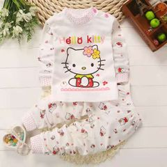 2Pcs Kids Baby Girls Cotton clothes  long sleeve and pant kids wear Suitsm  Clothes pajamas children white 100cm