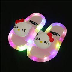 Beautiful lighting slippers girl anti-skid flip-flops kids  beach shoes baby  slippers sandals Pink 28-29