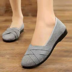 Fashion ladies shoes women round head single shoes casual soft shoes students gray 40