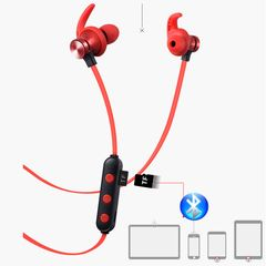 Wireless TF Card Bluetooth Headset Earphone Magnetic Sports Wireless Long-Time Creative Gift red bluetooth & TF card