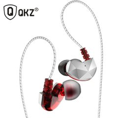 QKZ CK6 In-Ear Earphones High Bass Dual Drive Headset With Microphone Earbuds For iPhone Android Red