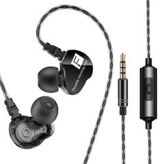 QKZ CK9 In-Ear Earphones High Bass Dual Drive Headset With Microphone Earbuds For iPhone Android Black