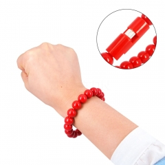 Micro USB Cable Hand Chain Bead Bracelet Phone Charger - Red