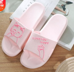Bath at home non-slip indoor slippers bathroom soft-soled couples sandals Pink 40