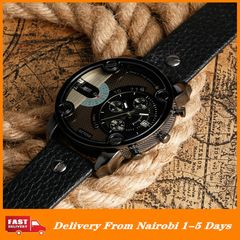 Luxury Men PU Leather Watches Mens 2020 Black Military Watch Date Display Wristwatches 5.2cm Big black one size