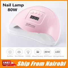 [Go Home]]80W UV LED Lamp LCD Display For Nails Dryer Sun Light Nail Lamp Gel Polish Nail pink