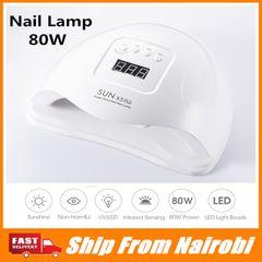 80W UV LED Lamp  LCD Display For Nails Dryer Sun Light Nail Lamp Smart For Gel Polish Nail Tool FBK white