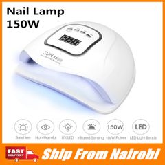 [Go Home]150W Nail Gel Lamp LED Nail Dryer LCD Display Nail Manicure Tool UV for Gel Varnish white