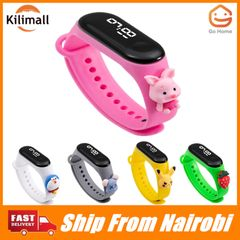 Kids Watch Cartoon LED Digital waterproof watch Children's  Silicone Pikachu Pink one size