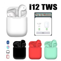 i12 TWS  Wireles Bluetooth Stereo Earphones with  Microphone for Full Smartphone white