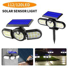 112 LED Outdoor Solar Lights Three Head Lighting Lawn Ground Lamp Motion Sensor Landscape Spotlights type1 one size 15w