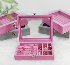 Portable Velvet Jewelry Ring Jewelry Display Organizer Box Earring Holder Jewelry Storage Case type1