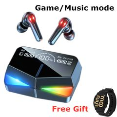 [Free Gift]2021 Game/music mode Low-Latency Earphones TWS 5.1 Wireless Bluetooth Microphone Touch Control M28 Black