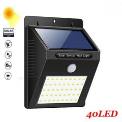 40 LED Solar Powered Wall Light Motion Sensor Outdoor Security Yard Wall Waterproof Lamps Black 96*124*48mm 0.75W(40LED)