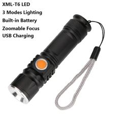 USB Rechargeable Flashlight T6  Led Flash light   Tactical Torches Zoom Flashlight Camping Lantern Black 111mm×27.5mm×25mm 10W