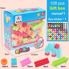 108 Pcs Kids Children DIY Puzzle Building Blocks Learning Educational Toys christmas gifts as picture 108pcs