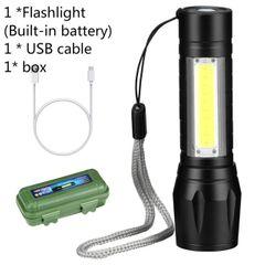 Rechargable Portable LED Flashlight COB+XPE LED Torch Waterproof Camping light  zoom focus lights Black 9cm x 2.4cm x 2cm 3W