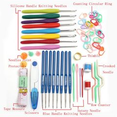 1 Set 16 Size Crochet Hooks Needles Stitches Knitting Craft Case Crochet Set Sewing Tools as picture as picture
