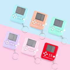Mini Classic Game Console With Keychain Tetris Video Game Handheld Game Players Electronic Toys random one  size