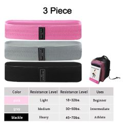 3Pcs Resistance Loop Bands  Home Gym Fitness Exercise Bands for Glute and Hip Exercise,Pilates Yoga 3Pcs(Pink + Gray + Black) 76*8cm