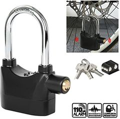 Padlock Alarm High Quality Alarm lock Siren Padlock for home and office security Black one size