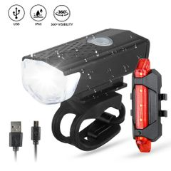 Bike Bicycle Light USB LED Rechargeable Set Mountain Cycle Front Back Headlight Lamp Flashlight Black Front Light+Red rear Light normal