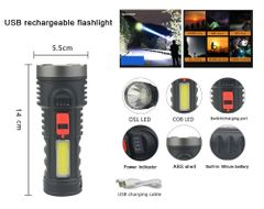 USB Rechargeable Flashlight  LED Torch  Tactical Flashlight Waterproof Torch Black one size