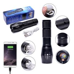 USB Rechargeable LED Flashlight T6 torch Waterproof Outdoor Camping strong Led Flashlights Black one size