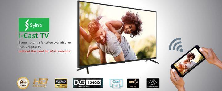 Syinix 32E1M HD LED Digital TV i-Cast TV Dolby Audio Built-in Free  Satellite black 32 inches