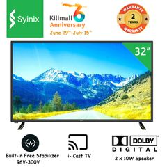 (Anniversary promotion)Syinix 32E1M HD LED Digital TV i-Cast TV Dolby Audio Built-in Free Satellite black 32 inches