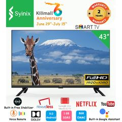 (Anniversary promotion)Syinix 43A1S FHD Frameless Smart TV Voice Remote Free Satellite Wifi Google black 43 inches