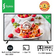 (New arrival) Syinix 32E1M HD LED Digital TV i-Cast TV Dolby Audio Built-in Free Satellite black 32 inches