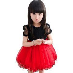Fashion Bowknot cute Kids Clothing Girl Dress Vest Princess Dresses Girl's Sunsuit Slip Dresses Red black 140cm