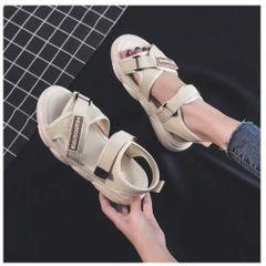 Sandals female fairy style 2020 summer new wild flat sneakers ins net red bear women's shoes girl Beige 40