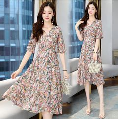 Skirt summer chiffon V-neck floral dress mid-length slim retro print skirt girl 2XL Orange
