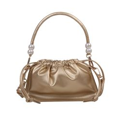 Women's bags, style handbags, shoulder folds, messenger pearl powder, cloud bags, tide clutches brown