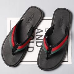 Men's shoes Flip-flops non-slip  sandals and slippers outer wear personality beach slippe red 44