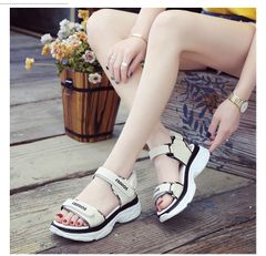 New sports sandals women's fashion thick-soled students all-match Velcro shoes beach shoes beige 38