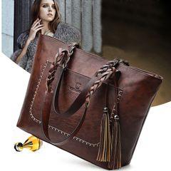 Women's bags, new big handbags, fringed shoulder bags, casual handbags, large-capacity bags 1 Dark brown