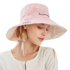 Spring And Summer Outdoor Leisure Travel Ladies Double-Sided Smiley Sun Hat pink