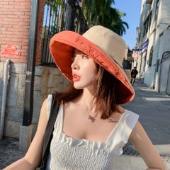 Spring and Summer Travel Leisure Ventilation Sun Protection Double-Sided Ribbon Sunshade Hat Woman red brown