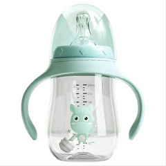 Mother and Baby PP Drop-Proof High Temperature Resistant Plastic Wide-Caliber Baby Bottle 240ml green standard
