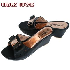 WH092 Women's High Heel Slipper Shoes with Bow-knot Wedges Slippers Ladies Shoe black 38
