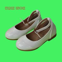 S206 Kids Children Fashion Girls PU Leather Princess Shoes Sandals Boat Girl Shoes white 27