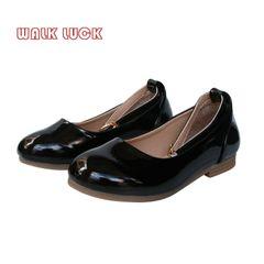 S206 Kids Children Fashion Girls PU Leather Princess Shoes Sandals Boat Girl Shoes black 28